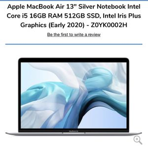 "Apple MacBook Air 13"" Silver Notebook Intel Core i5 16GB RAM 512GB SSD, Intel Iris Plus Graphics (Early 2020) - Z0YK0002H for Sale in Westminster, CA"