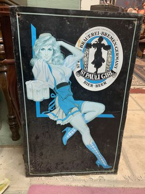 15x24 vintage ST PAULI GIRL German advertising sign. taken out of Dallas night club in Austin 25.00. Johanna. 212 north Main Street Buda antique vint for Sale in Buda, TX