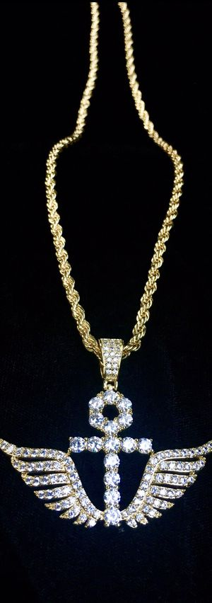 ANKH WINGS FULL DIAMONDS CZ 18K GOLD ROPE CHAIN MADE IN ITALY for Sale in Miami, FL