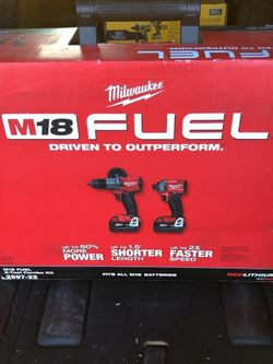 NEW Milwaukee M18 FUEL 18-Volt Lithium-Ion Brushless Cordless Hammer Drill And Impact Driver Combo Kit (2-Tool) With Two 5Ah Batteries for Sale in Staten Island,  NY