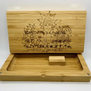 Rick and morty laser engraved bamboo rolling tray Christmas gift for Sale in Los Angeles, CA