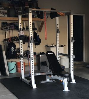 Fitness Gear full rack w/ weights, bar, and adjustable bench for Sale in Chesapeake, VA