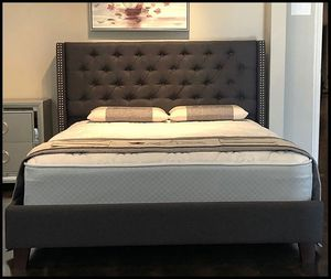 Queen Dark Gray Linen Bed with Mattress Free Delivery for Sale in Garland, TX