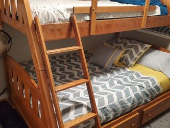 Twin Over Full Bunk Bed With Mattresses for Sale in Reston,  VA