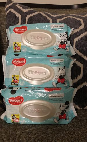 Not available 3 packs of Huggies Wipes. Please see all the pictures and read the description for Sale in Falls Church, VA