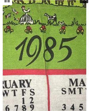 """ Vintage Antique Linen CALENDAR Dish Kitchen Tea Towel 1985 Textile Hanging. 14.5 x 22""""  for Sale for sale  Hackensack, NJ"""