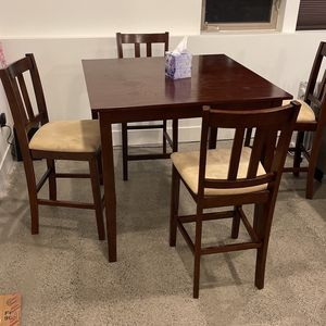 Tall Wood Dining Set (4 Chairs + Table) for Sale in Seattle, WA