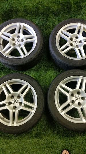 Acura rims and tires (4) . 2 tires and rims damaged by curb. 2 in great condition for Sale in Kent, WA