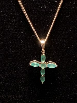 14kYellow Gold Emerald Cross Necklace for Sale in Sterling, VA