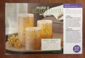 Brand new 3 Pack Flameless LED Pillar Candles, Hammered Metallic (pick up only) for Sale in Alexandria, VA
