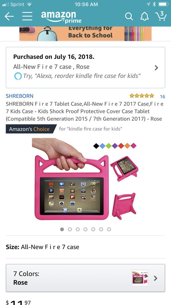 Amazon Fire tablet 7 with case!