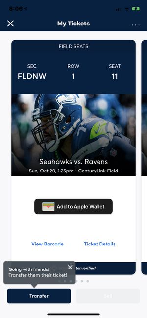 Baltimore Ravens vs Seattle Seahawks for Sale in Seattle, WA