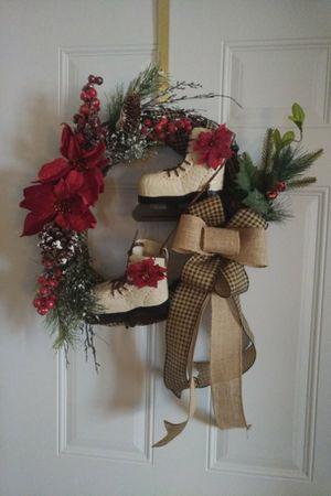 Holiday grapevine skate wreath #2 for Sale in Rhinelander, WI