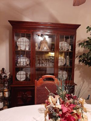 China hutch table and 6 chairs wood for Sale in Palos Hills, IL