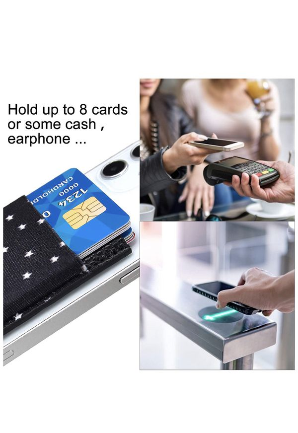 Phone Card Holder, Senose Phone Wallet Stick On PU Leather Double Pocket for Back of Phone Sleeve Credit Id Card Holder Strong Adhesive Compatible wit
