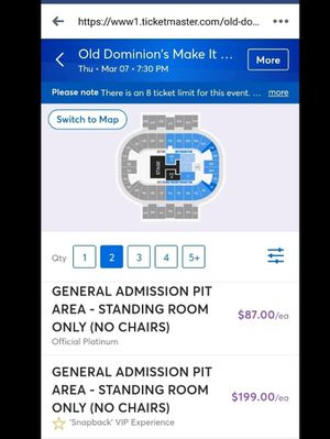 2 pit tickets to old dominion pcola bay center for Sale in Milton, FL