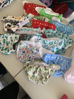 13 OS Pocket diapers with adjustable inserts: boy for Sale in Santee, CA