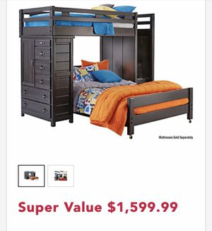 Twin over full bunk bed with staircase and built in dresser and closet for Sale in Detroit, MI
