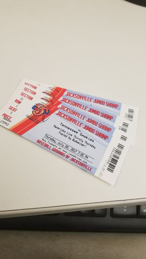 4 Jumbo Shrimp Tickets, game on July 20 for Sale in Jacksonville, FL