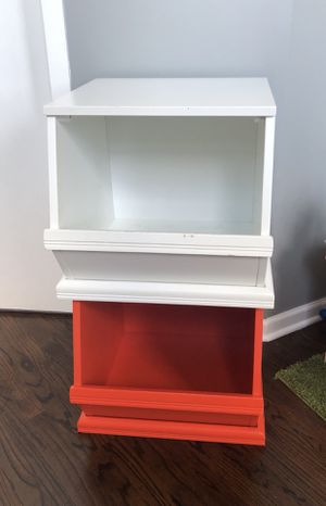 Two Land of Nod (Crate & Kids) Storagepalooza toy bins - white and orange for Sale in Chicago, IL