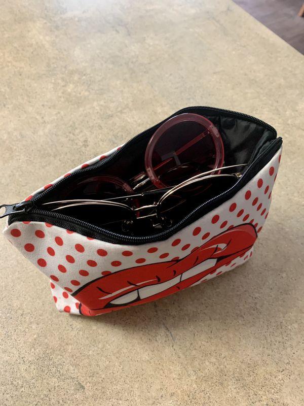 Sunglasses for women (6) + small makeup bag