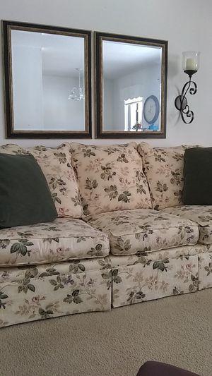 Flowered cream sofa for Sale in Mount Pleasant, MI