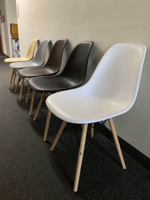 "NEW $25 each Mid Century Modern Eames Style dining leisure DSW 18 wide x 31 inches tall seat height 17"" chair 5 colors beige white black grey or brow for Sale in West Covina, CA"