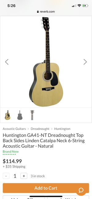 Huntington GA41-NT Dreadnought Top Back Sides Linden Catalpa Neck 6-String Acoustic Guitar - Natural for Sale in San Diego, CA