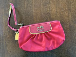 Coach Hot Pink Satin Wristlet for Sale in West Haven, CT