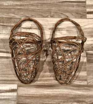 NEW - 2 Hanging Baskets, Made of Willow & Chicken Wire for Sale in Lincoln, NE