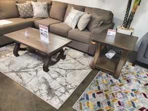 2 PC Coffee and End Table Set, Brown for Sale in Huntington Beach, CA