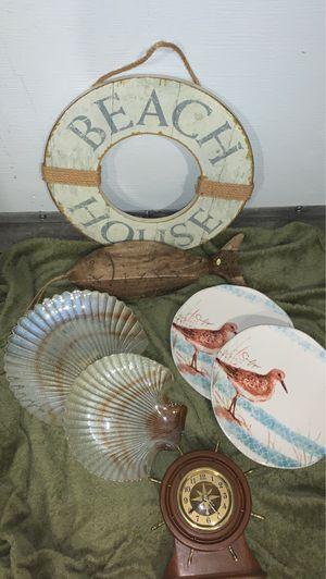 Nautical collection beach fish decor plates clock boats for Sale in Duvall, WA
