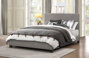 Queen bed frame, NEW! Gray fabric bed for Sale in Modesto, CA