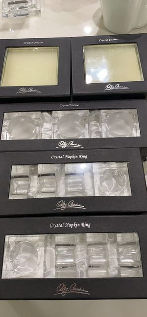 Crystal coasters, napkin rings and votives. Like new for Sale in Newport News, VA