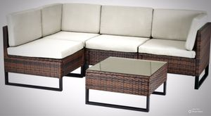 New!! 5Pc Patio Set, Outdoor Couch,Sectional, Backyard Chairs,Coffee Table-Light Grey for Sale in Phoenix, AZ