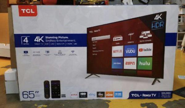 """65"""" TcL roku smart 4K led uhd hdr tv"""