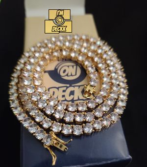 20,22 & 24inch 5mm 🚨🚨🚨 14k Gold plated Iced out Tennis chain 🚨🚨🚨 I Deliver for Sale in Miami, FL