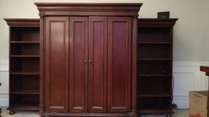 Three piece computer cabinet and bookshelves, solid cherry wood for Sale in Aurora, OH