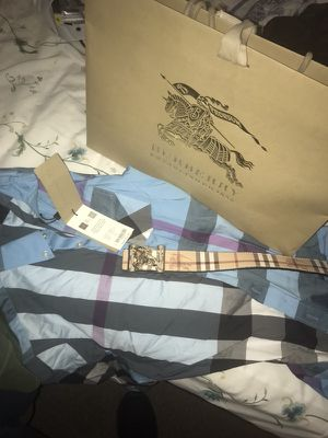 REAL DEAL BURBERRY SHIRT AND BELT FOR SALE for Sale in Orlando, FL
