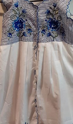 Handmade White And Blue Dress With Stiched Flowers for Sale in Tracy,  CA