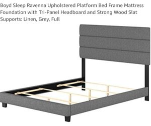 Boyd Sleep Ravenna Upholstered Platform Bed Frame Linen, Grey Full for Sale in Canal Winchester, OH