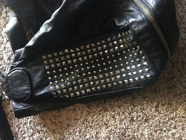 Women's studded leather handbag