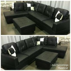 Brand New Black Leather Sectional With Storage Ottoman for Sale in Orting,  WA