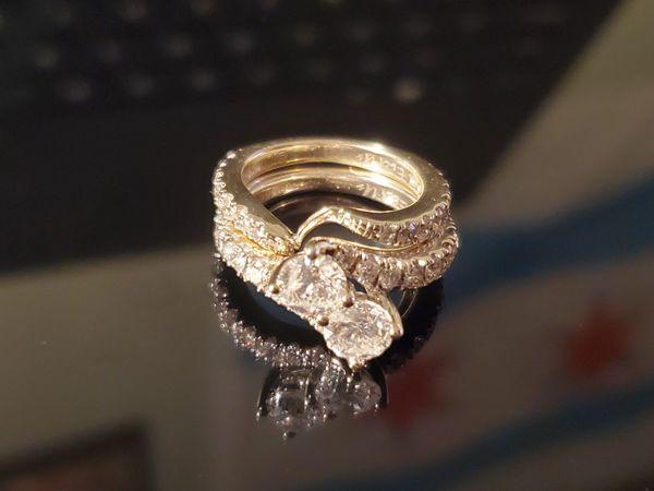 3.5 carat diamond ring engagement wedding ring set 14k white gold size 6.5