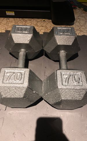 Pair of 70 lb hex dumbbells for Sale in Buffalo, NY