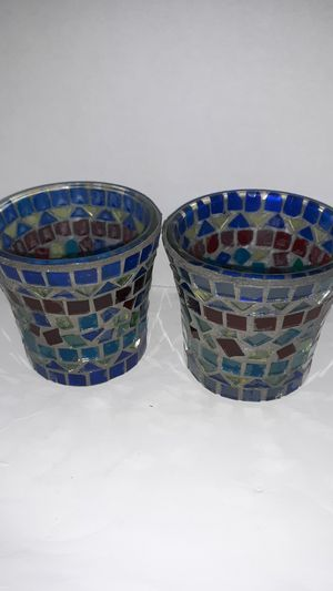 Mosaic candles holders (blue) for Sale in Piqua, OH