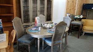 Metallic China Cabinet Table 4 Chairs for Sale in Atlanta, GA