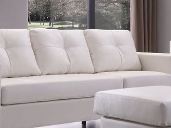 Small Space Convertible White Sectional Couch for Sale in Westwood,  MA
