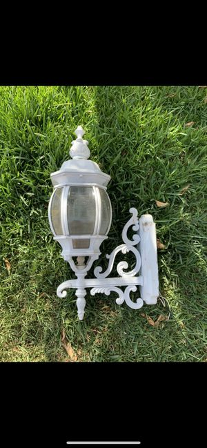 Pair of White Vintage Outdoor Wall-Mount Lantern Sconce Cast Aluminum Lamps for Sale in Montebello, CA