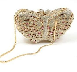 Crystal Butterfly Clutch With Gold Chain And Silk Lining In Gold for Sale in Elkridge,  MD